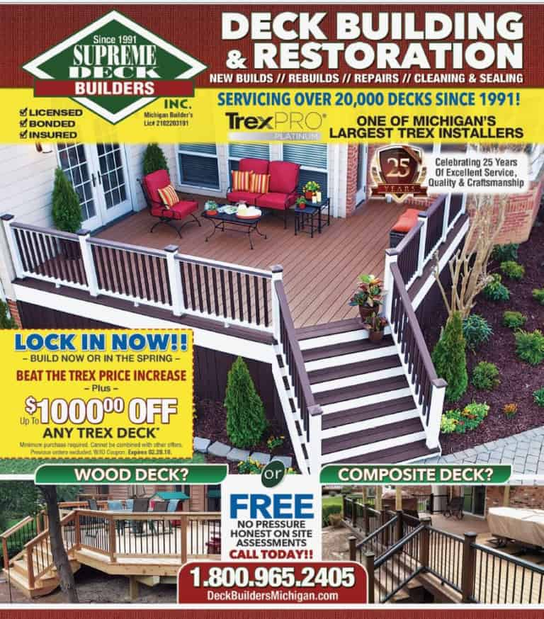 deck builders bloomfield, bloomfield hills, west bloomfield, best deck builder, trex pro platinum, best installer, trex transend